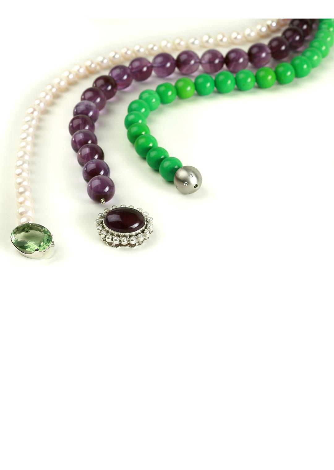 Kette amethyst jade perle