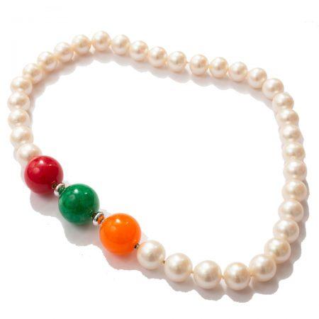 Perlenkette mit ws orange rot